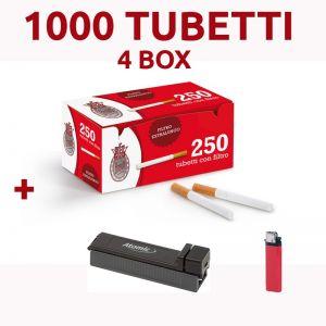 1000 TUBETTI REX BRAVO FILTRO EXTRA LUNGO + RIEMPITUBI ATOMIC