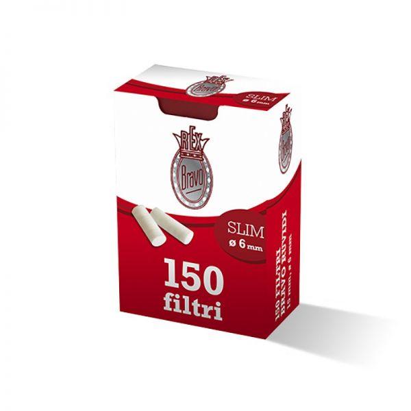 FILTRI BRAVO SLIM 6mm RUVIDI - BOX 10 SCATOLINE DA 150 FILTRI