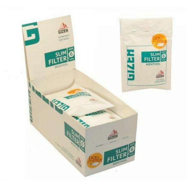 Gizeh Filtri Slim 6 mm Mentolo - Box 10 Bustine da 120 Filtri
