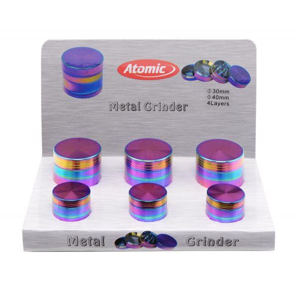 Atomic Grinder Metallo Ø 30 mm Ø 40 mm 4 Parti - Box 6 Pezzi