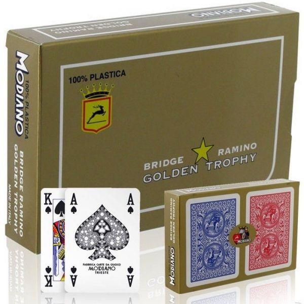 Carte Modiano Golden Trophy - Bridge Ramino - 2 Mazzi da 52 Carte Rosso Blu