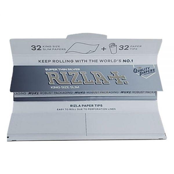 Rizla Silver KS Slim Combi Pack Cartine + Filtro Filter Tips - Libretto sfuso 32 Cartine + 32 Filtri in carta