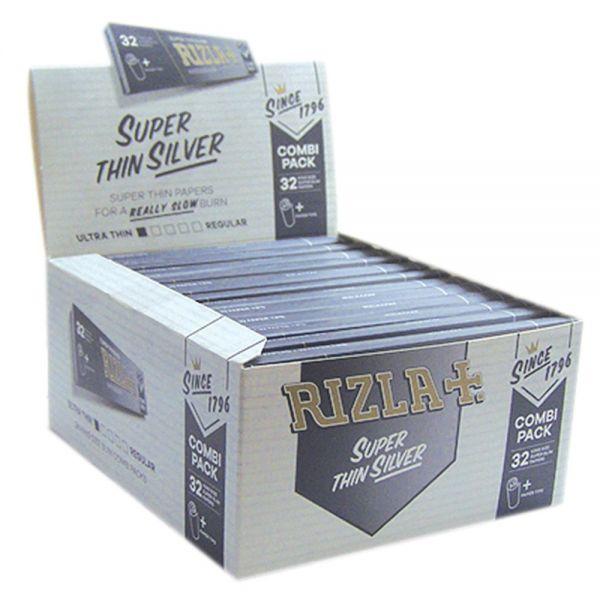 Rizla Silver KS Slim Combi Pack Cartine + Filtro Filter Tips - box 24 libretti da 32 Cartine + 32 Filtri in carta
