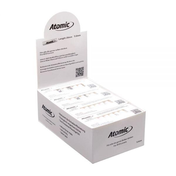 Atomic Filtri Slim in Cartone con Tappi di Ceramica con Carboni Attivi - Astuccio da 10 Filtri