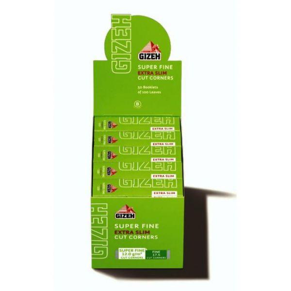 CARTINE GIZEH SUPER FINE EXTRA SLIM CORTE - BOX DA 50 LIBRETTI DA 66 FOGLIETTI