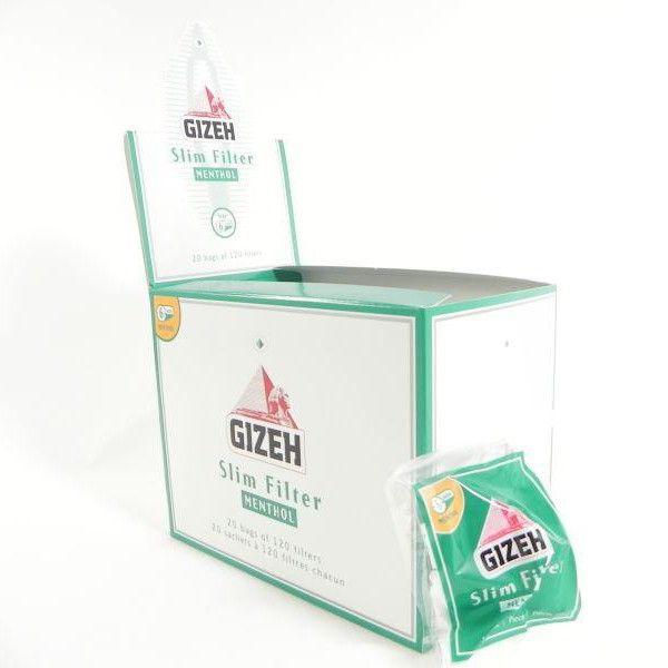 GIZEH SLIM 6MM AL MENTOLO - BOX 20 BUSTINE DA 120 FILTRI