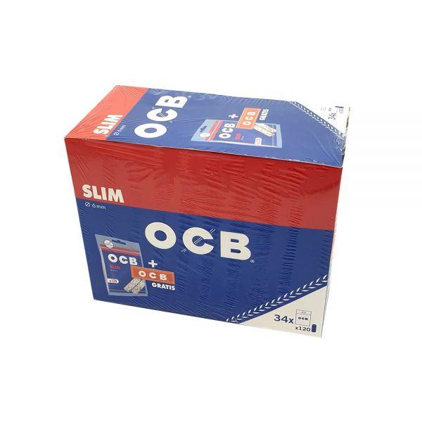 OCB Filtri Slim + OCB Orange - Box 34 Sacchetti da 120 filtri + 1 Libretto da 50 Cartine