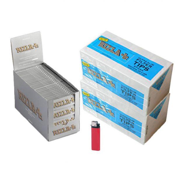 5000 CARTINE RIZLA SILVER GRIGIE CORTE 2 BOX DA 50 LIBRETTI + 4800 FILTRI RIZLA ULTRASLIM POPPATIPS 40 SCATOLE DA 120+ 1 ACCENDI