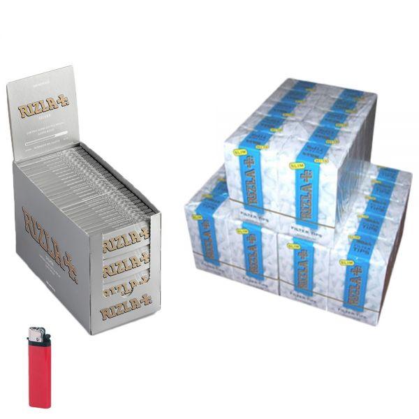 2 BOX CARTINE RIZLA CORTE SILVER GRIGIE ARGENTO (5000cartine) + 3 BOX FILTRI RIZLA SLIM 6 mm (4500 filtri) + ACCENDINO OMAGGIO