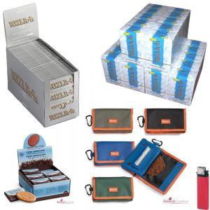 5000 CARTINE RIZLA SILVER CORTE+4500 FILTRI SLIM 6mm+PORTATABACCO PINCH + PIETRA