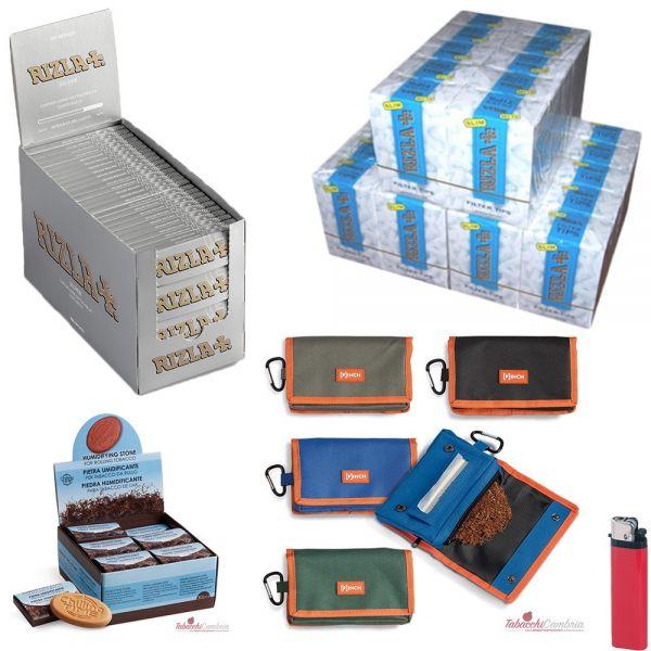 5000 CARTINE RIZLA SILVER CORTE+ 4500 FILTRI RIZLA SLIM 6mm+ 1 PORTATABACCO CHILLING TIME+ 1 PIETRA UMIDIFICANTE+ 1 ACCENDINO OM
