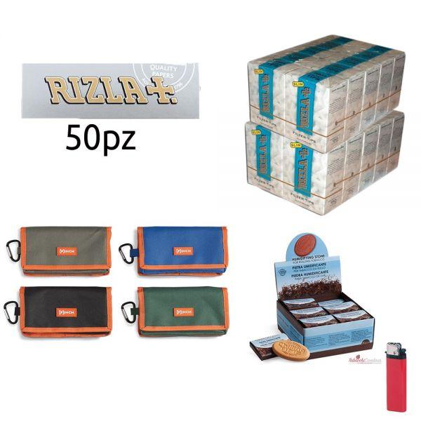 2500 CARTINE RIZLA SILVER GRIGIE CORTE + PORTATABACCO CHILLING TIME CON ZIP + 3000 filtri slim 6mm rizla+ PIETRA UMIDIFICANTE +