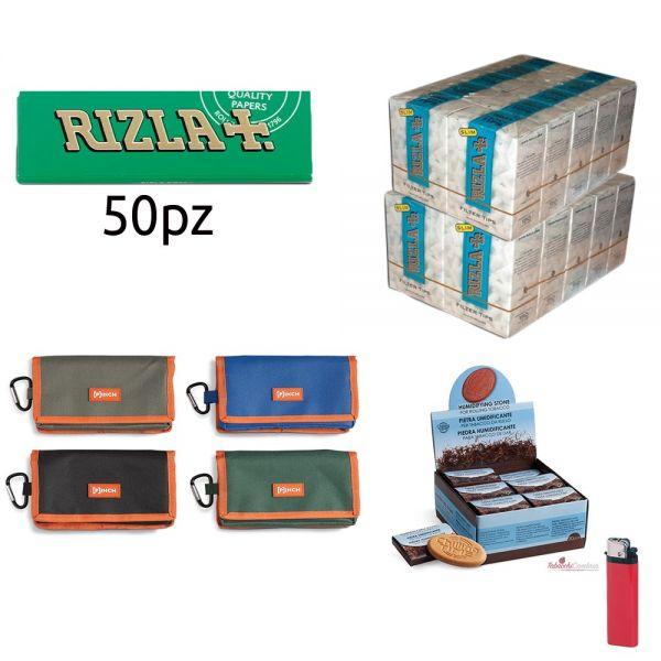 2500 CARTINE RIZLA VERDI CORTE + PORTATABACCO PINCH IN TESSUTO + 3000 filtri rizla slim 6mm + PIETRA UMIDIFICANTE