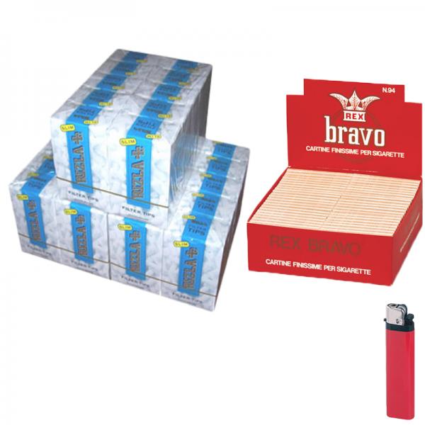 4500 Filtri SLIM 6mm RIZLA in scatola ruvidi non incartati + 4000 CARTINE REX BRAVO + ACCENDINO FREE