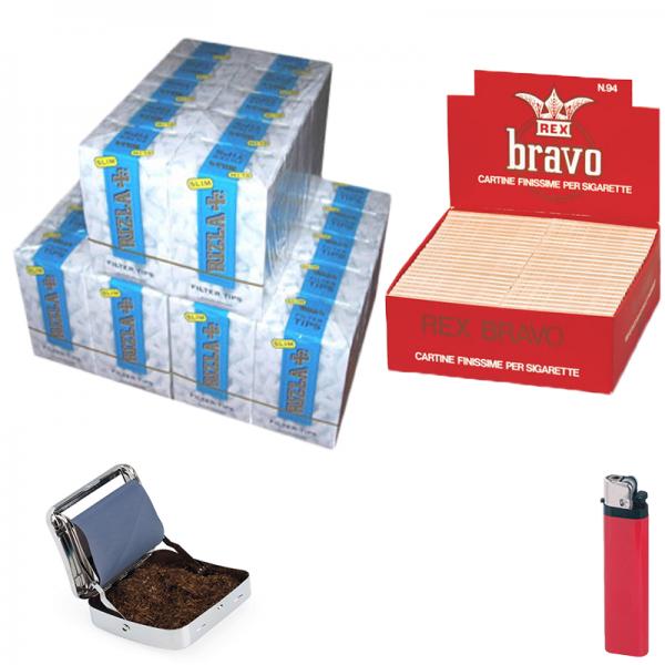 4000 cartine BRAVO REX -1 box + PORTATABACCO ROLLATORE chilling time + 4500 filtri rizla slim 6mm -3 box + accendino omaggio