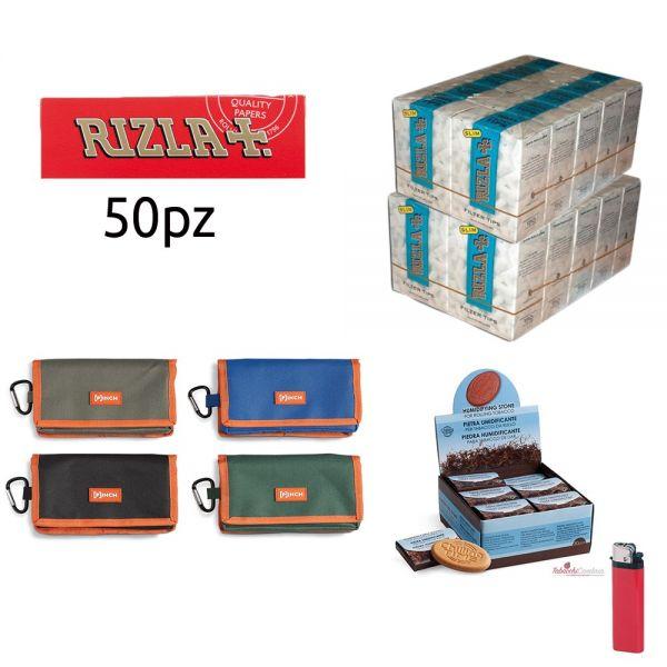 2500 CARTINE RIZLA CORTE ROSSE + PORTATABACCO PINCH + 3000 filtri slim 6mm rizla + PIETRA UMIDIFICANTE + ACCENDINO OMAGG