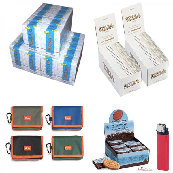 5000 cartine rizla bianche + PORTATABACCO PINCH + 4500 filtri slim 6mm rizla + pietra HIDRO STONE + ACCENDINO OMAGGIO