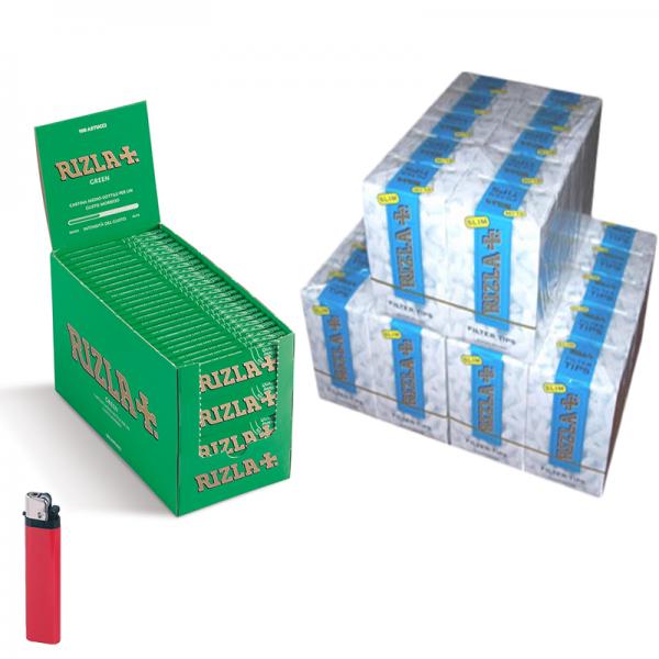 5000 Cartine RIZLA GREEN verdi CORTE - 1 BOX - 100 pz + 4500 Filtri RIZLA SLIM 6mm - 3 BOX + accendino omaggio