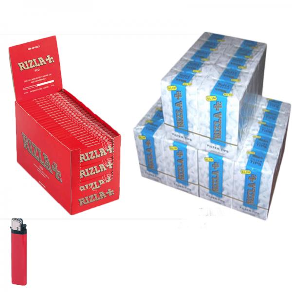 5000 Cartine RIZLA RED ROSSE CORTE - 1 BOX - 100 pz + 4500 Filtri RIZLA SLIM 6mm - 3 BOX + accendino omaggio