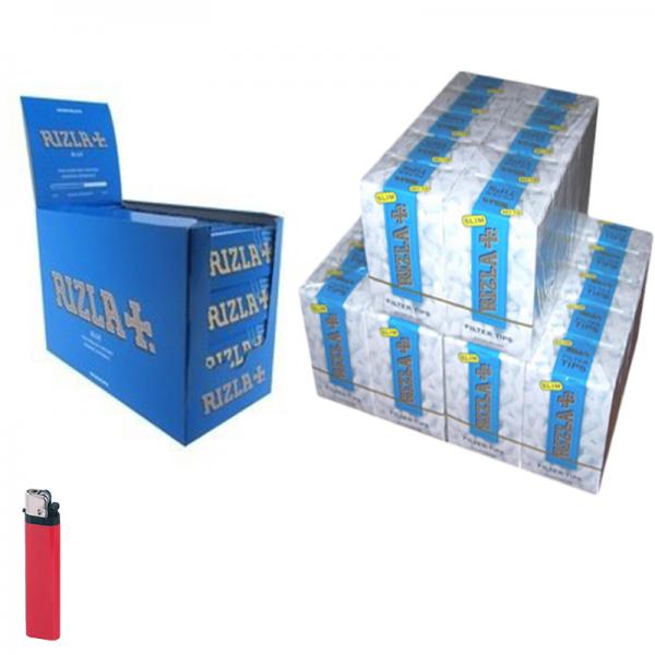 4500 Filtri SLIM 6mm RIZLA in scatola ruvidi non incartati + 5000 RIZLA BLU corte + ACCENDINO FREE