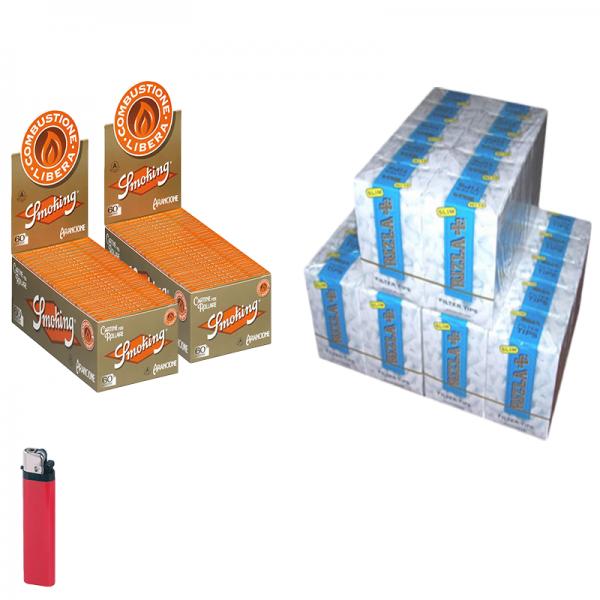 4500 Filtri SLIM 6mm RIZLA in scatola ruvidi non incartati + 6000 CARTINE SMOKING ORANGE + accendino free