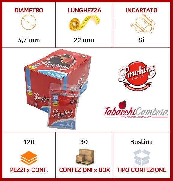 SMOKING FILTRI ULTRA SLIM LONG EXTRA LUNGHI 5,7 mm - BOX 30 BUSTINE DA 120 FILTRI